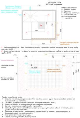 Монтажная схема септика ЮНИЛОС АСТРА 40