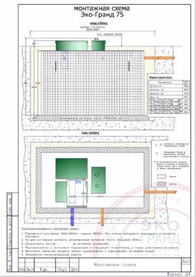 Монтажная схема септика ЭКО ГРАНД 75
