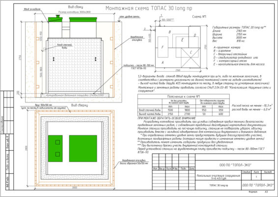 Монтажная схема септика ТОПАС 30 Лонг ПР