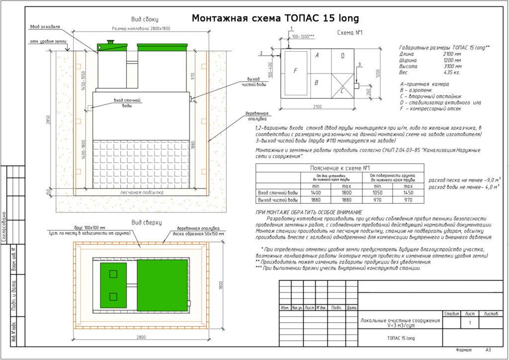 Монтажная схема ТОПАС 15 Лонг